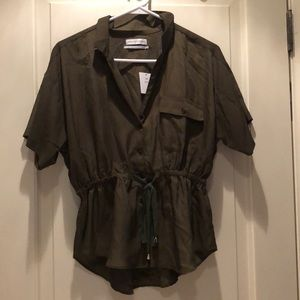 Urban Outfitters Green Drawstring Collared Shirt